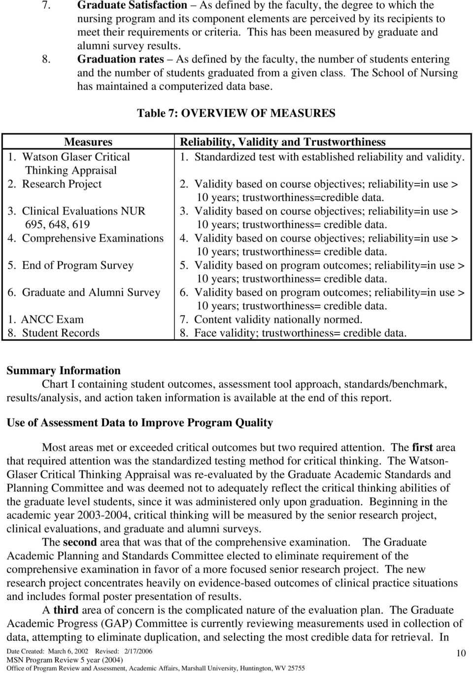 The School of Nursing has maintained a computerized data base. Table 7: OVERVIEW OF MEASURES Measures 1. Watson Glaser Critical Thinking Appraisal 2. Research Project.