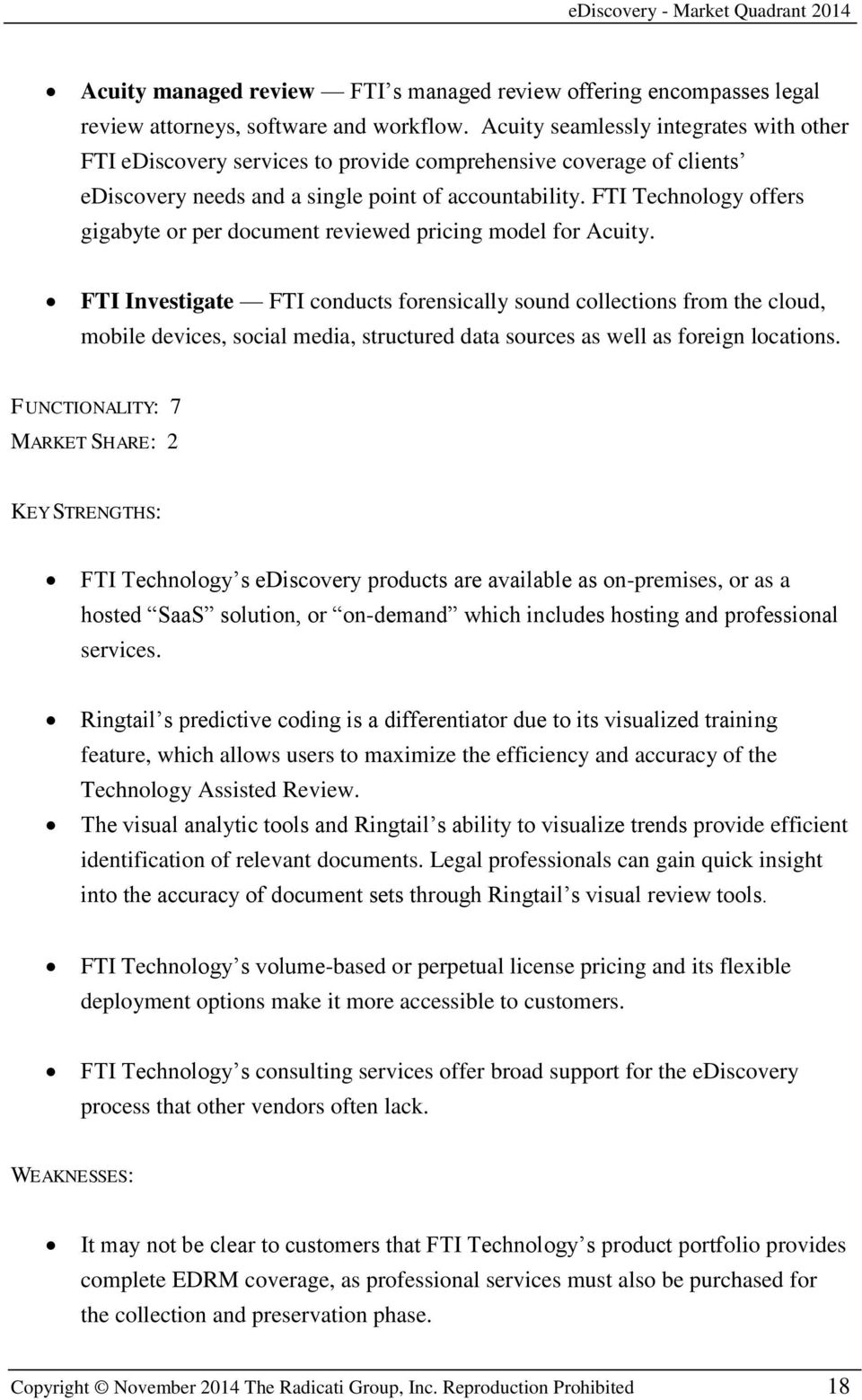 FTI Technology offers gigabyte or per document reviewed pricing model for Acuity.