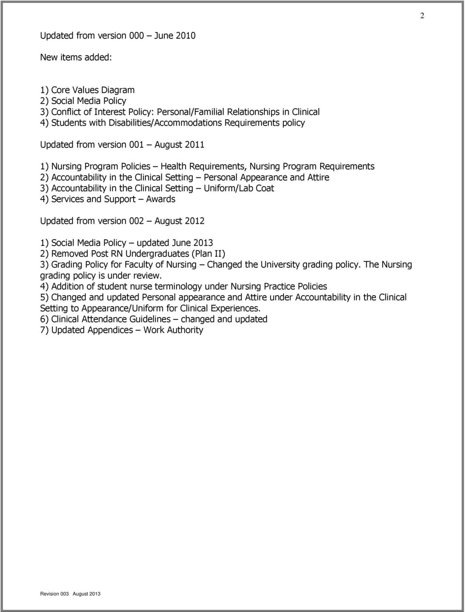 Setting Personal Appearance and Attire 3) Accountability in the Clinical Setting Uniform/Lab Coat 4) Services and Support Awards Updated from version 002 August 2012 1) Social Media Policy updated