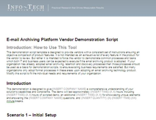 Take charge of vendor finalist demos with a Vendor Demonstration Script A product demo helps enterprise decision-makers better understand the capabilities & constraints of various solutions.