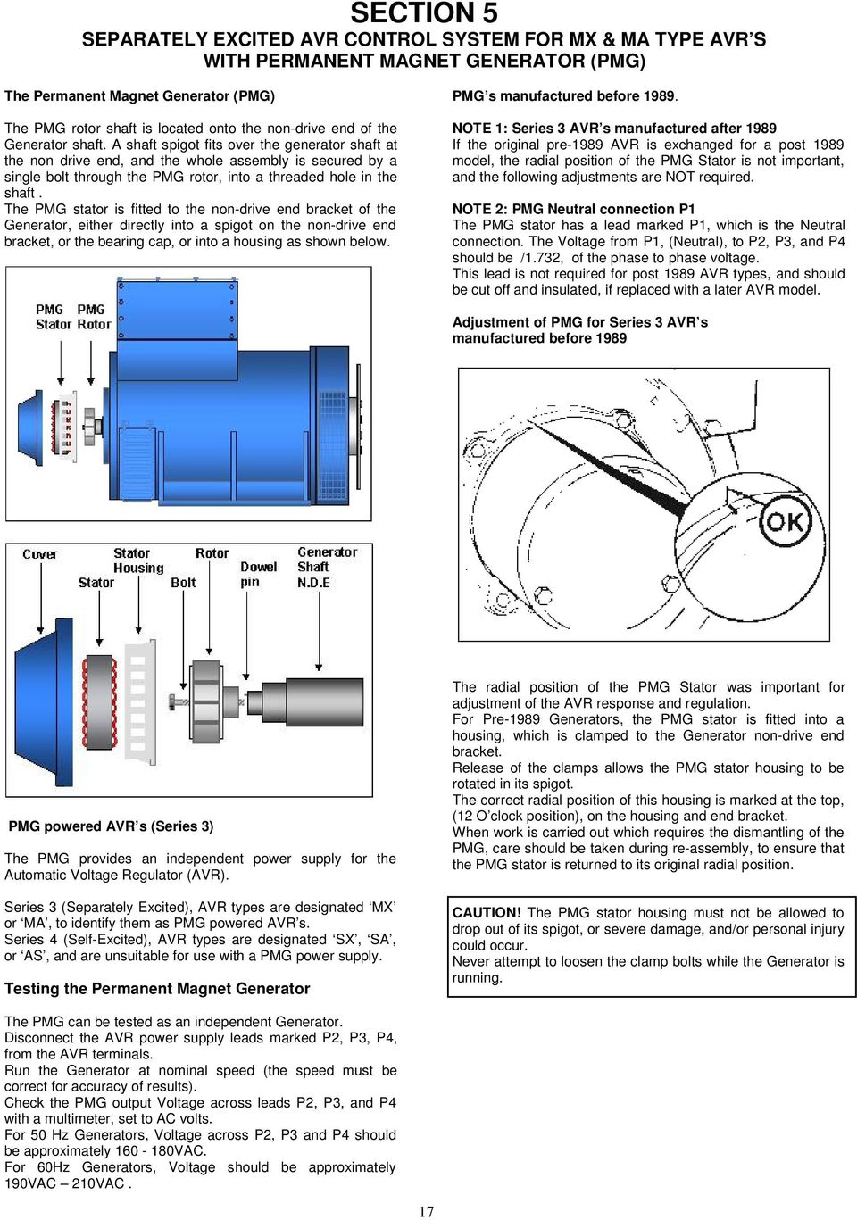 Fault Finding Manual For Stamford Ac Generators Pdf Air Conditioning C60 Overhead System Wiring Diagram G Models The Pmg Stator Is Fitted To Non Drive End Bracket Of Generator