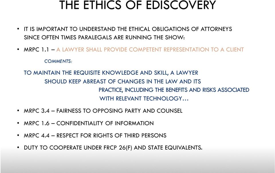 OF CHANGES IN THE LAW AND ITS PRACTICE, INCLUDING THE BENEFITS AND RISKS ASSOCIATED WITH RELEVANT TECHNOLOGY MRPC 3.