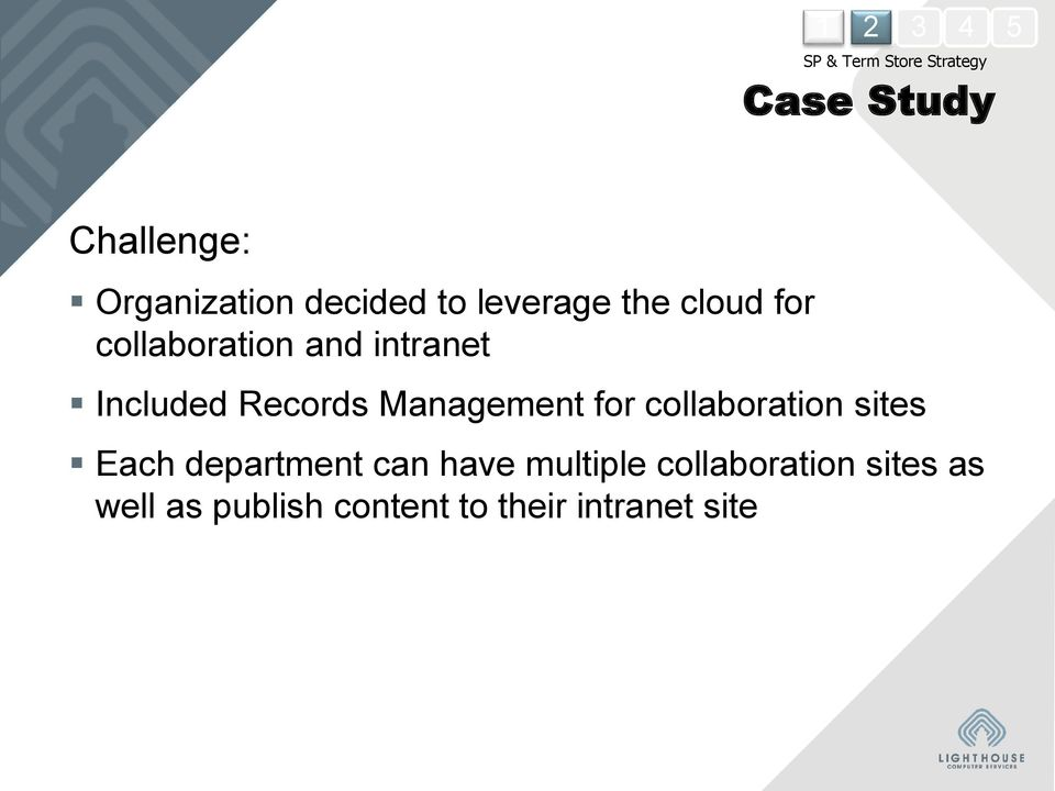 Records Management for collaboration sites Each department can have