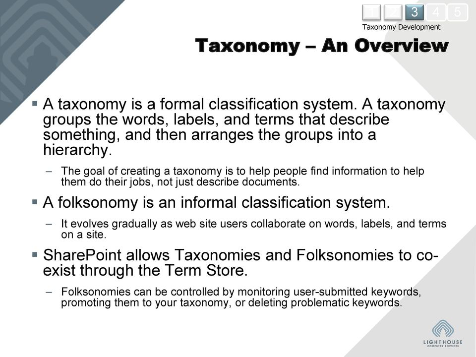 The goal of creating a taxonomy is to help people find information to help them do their jobs, not just describe documents.