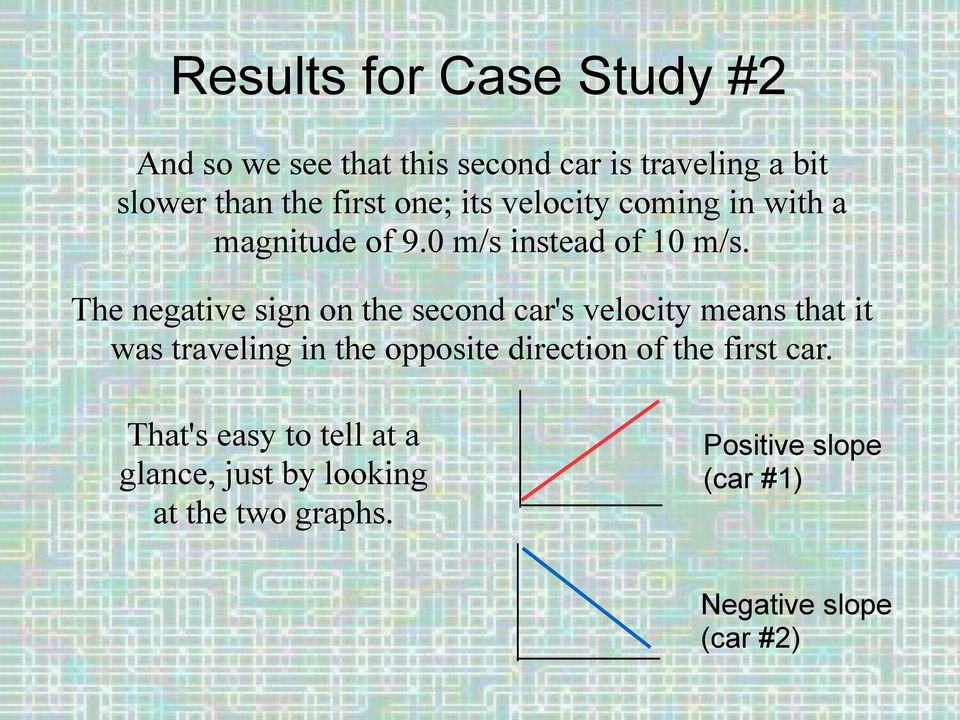 The negative sign on the second car's velocity means that it was traveling in the opposite direction