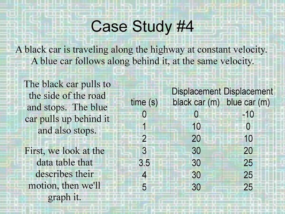 The black car pulls to the side of the road and stops. The blue car pulls up behind it and also stops.