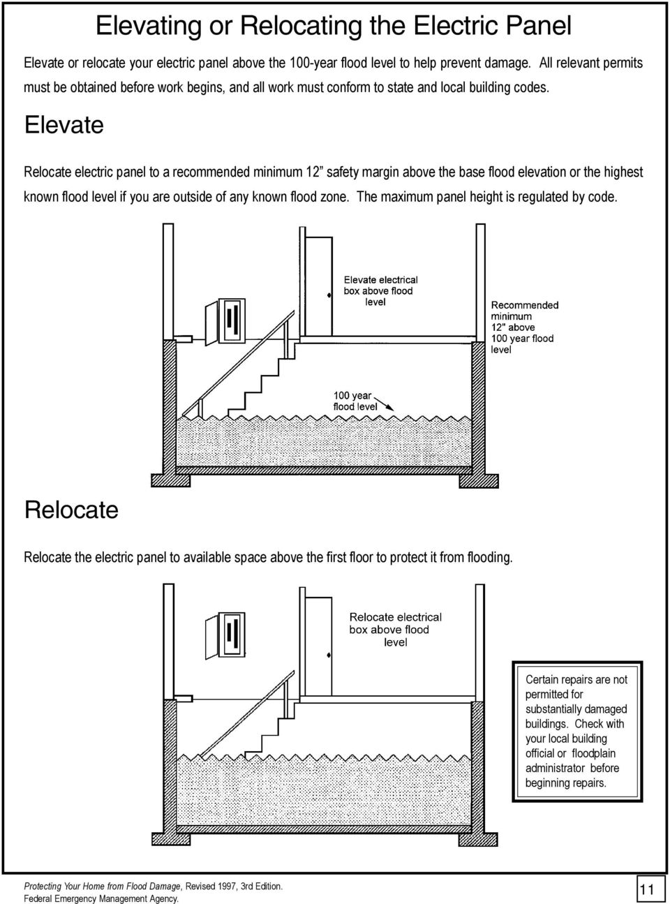 Elevate Relocate electric panel to a recommended minimum 12 safety margin above the base flood elevation or the highest known flood level if you are outside of any known flood zone.