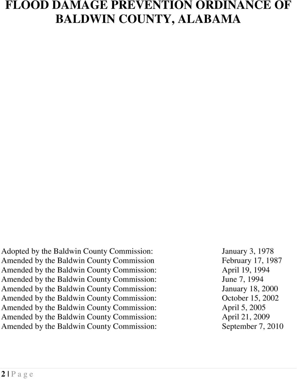 Amended by the Baldwin County Commission: January 18, 2000 Amended by the Baldwin County Commission: October 15, 2002 Amended by the Baldwin County