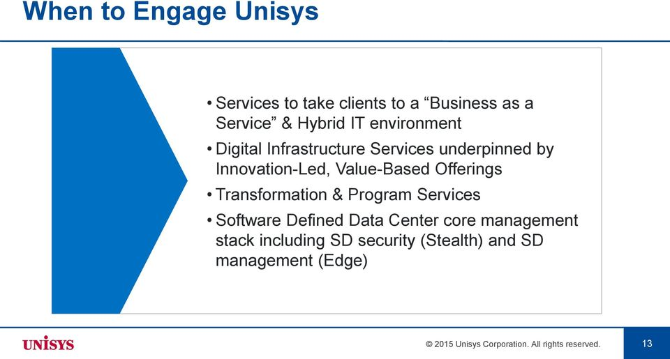 Offerings Transformation & Program Services Software Defined Data Center core management