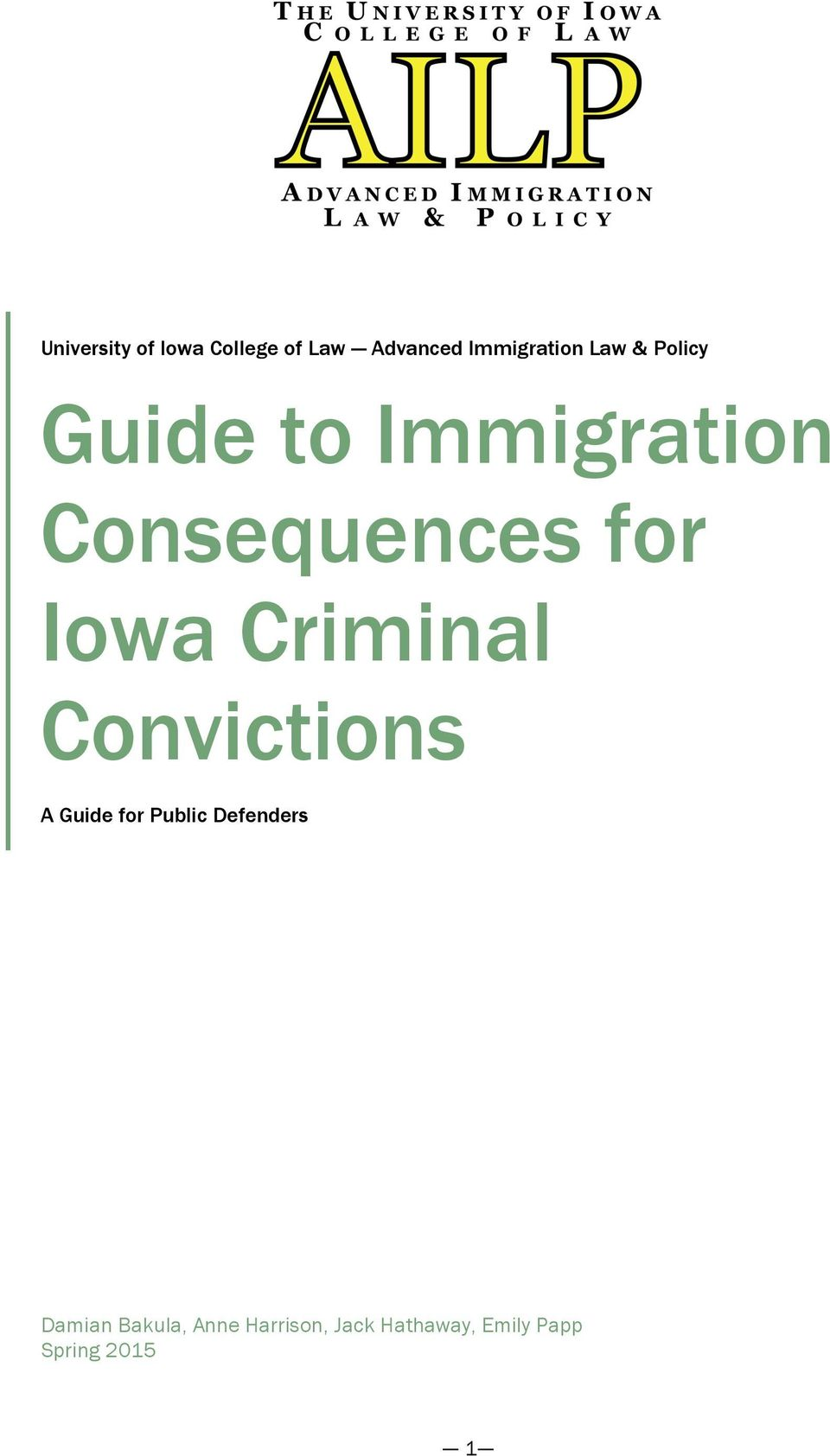 Guide To Immigration Consequences For Iowa Criminal Convictions Pdf