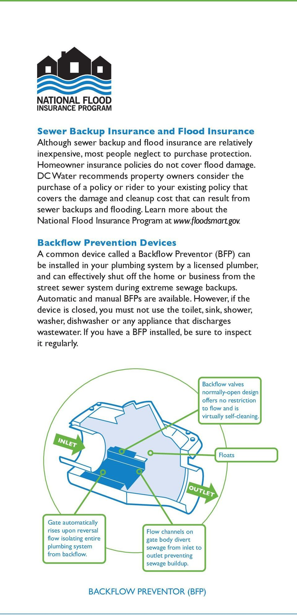 DC Water recommends property owners consider the purchase of a policy or rider to your existing policy that covers the damage and cleanup cost that can result from sewer backups and flooding.