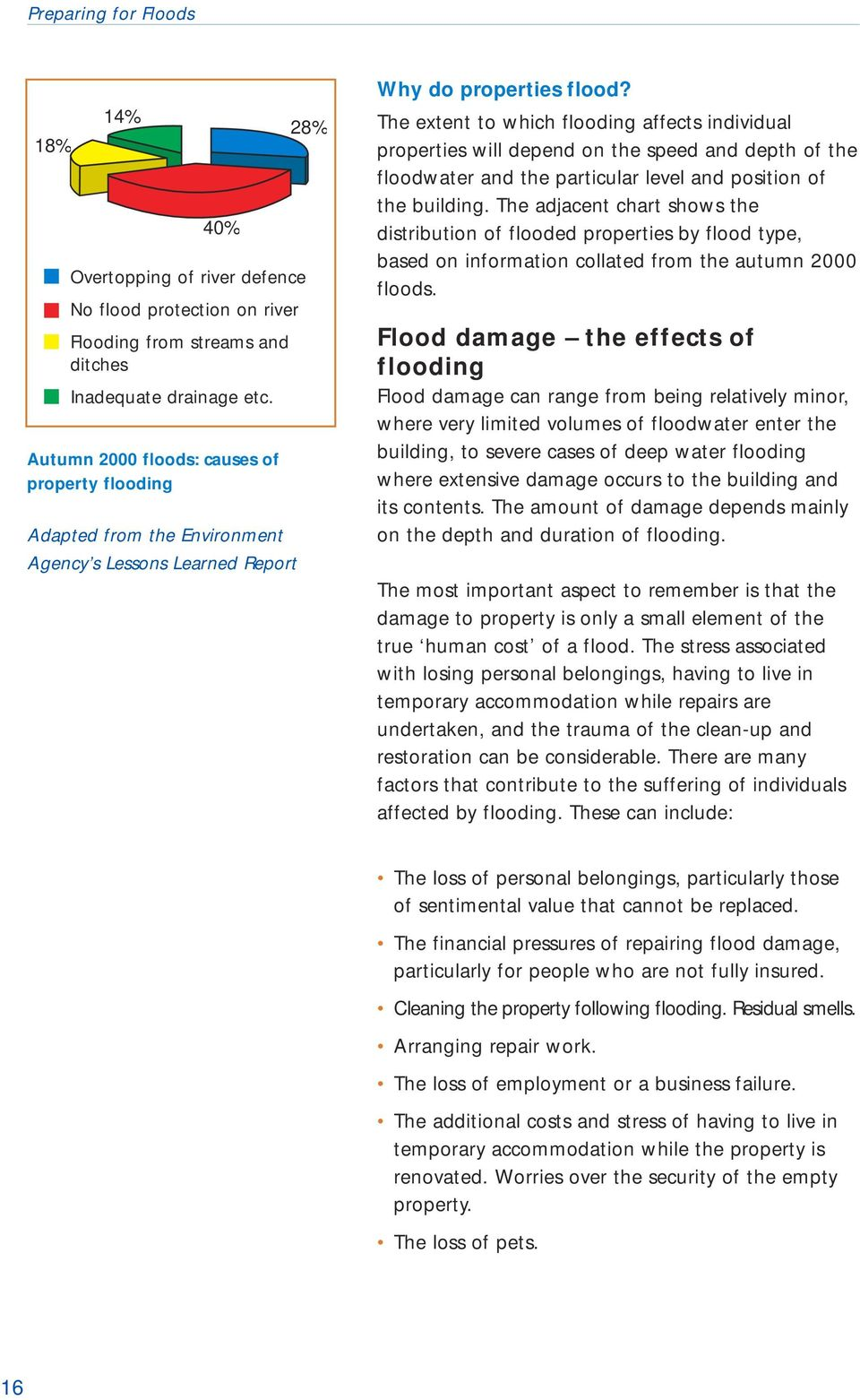 The extent to which flooding affects individual properties will depend on the speed and depth of the floodwater and the particular level and position of the building.
