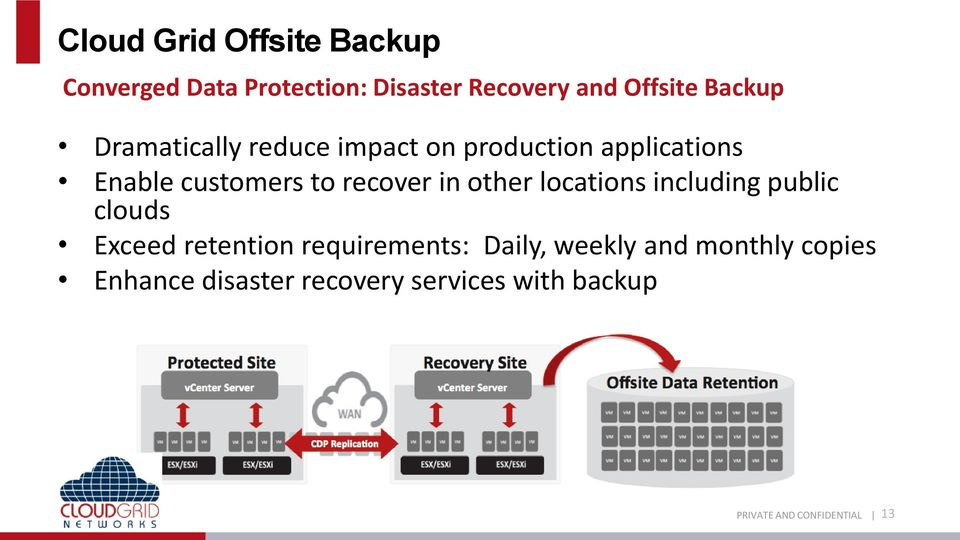 customers to recover in other locations including public clouds Exceed retention