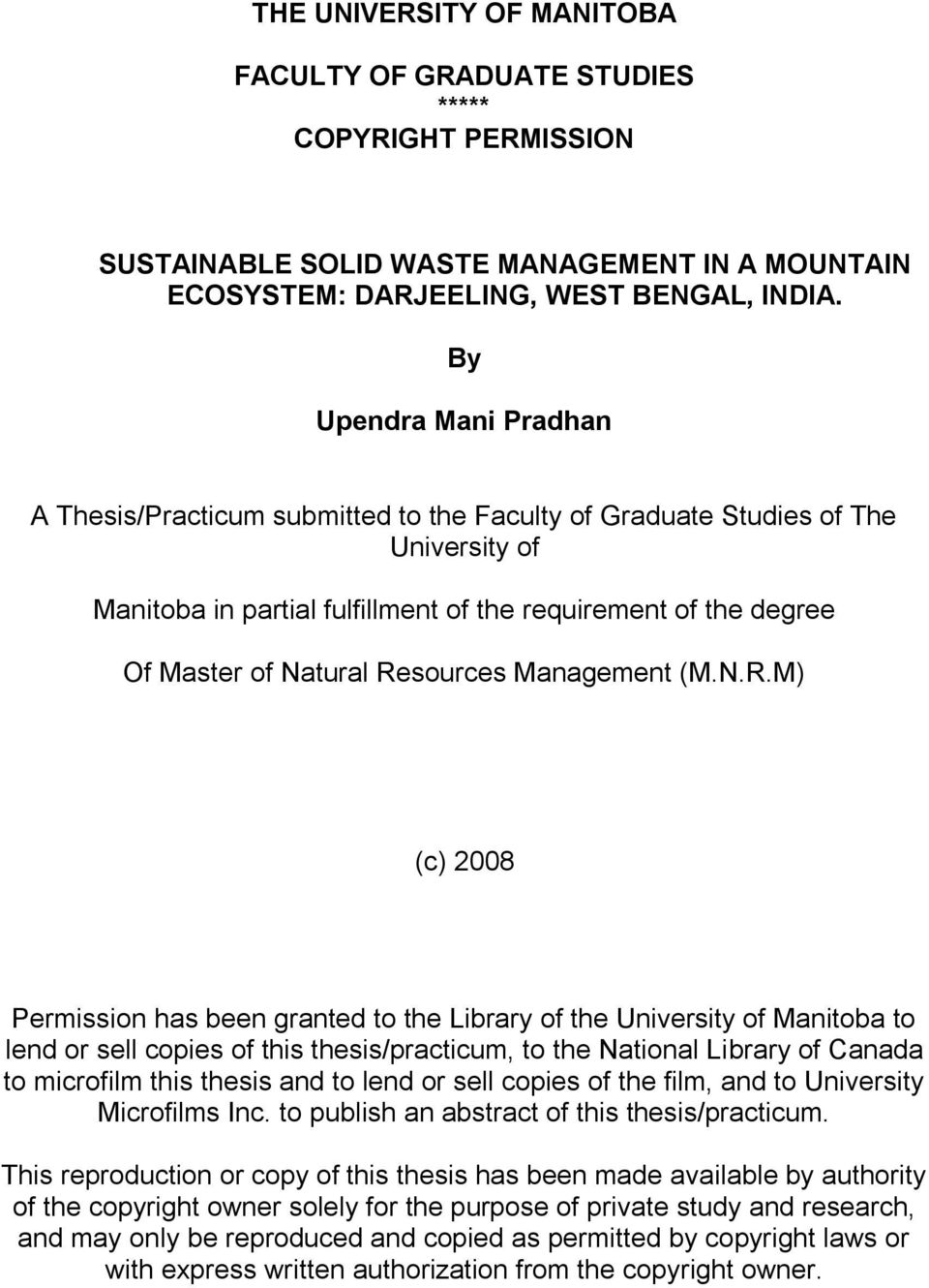 Thesis topics on solid waste management