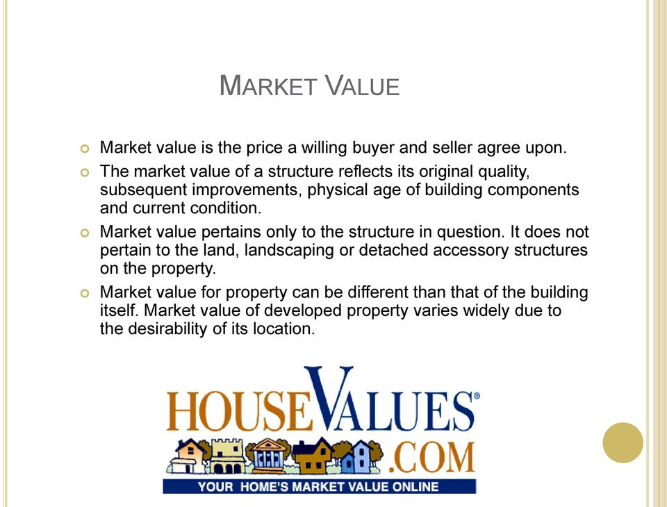condition. Market value pertains only to the structure in question.