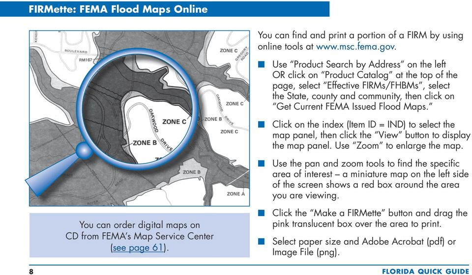 Issued Flood Maps. n Click on the index (Item ID = IND) to select the map panel, then click the View button to display the map panel. Use Zoom to enlarge the map.