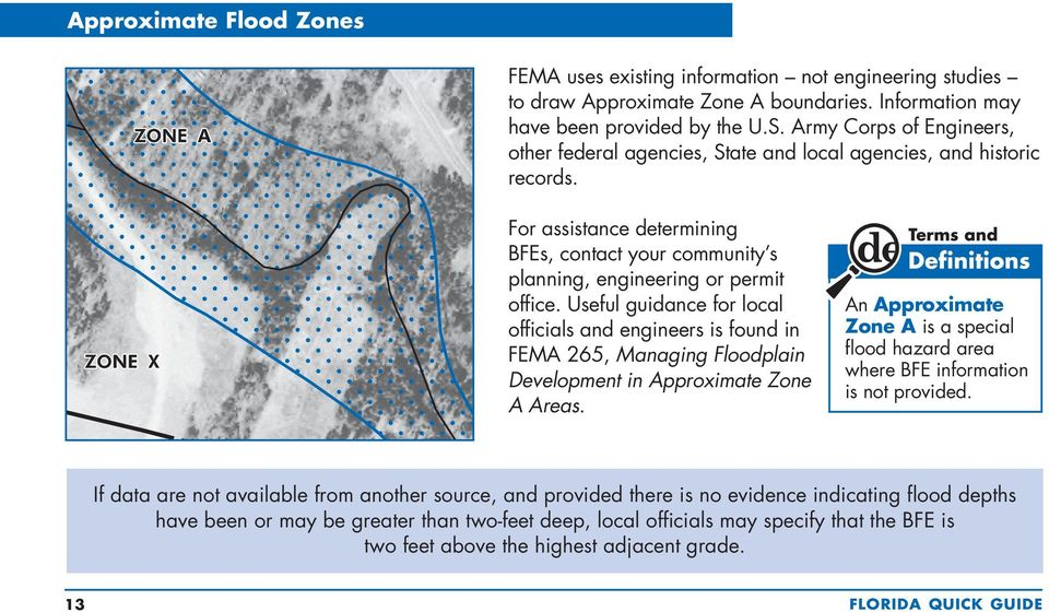 Useful guidance for local officials and engineers is found in FEMA 265, Managing Floodplain Development in Approximate Zone A Areas.