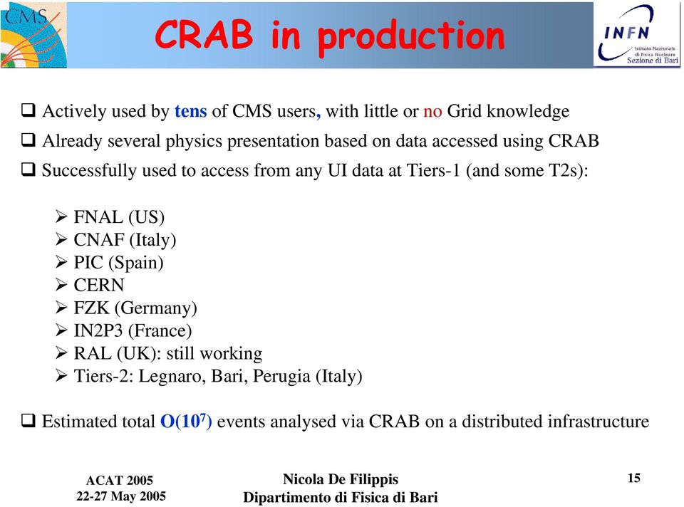 some T2s): FNAL (US) CNAF (Italy) PIC (Spain) CERN FZK (Germany) IN2P3 (France) RAL (UK): still working