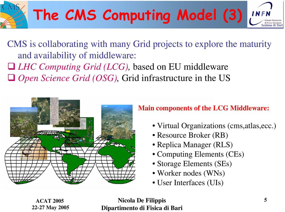 infrastructure in the US Main components of the LCG Middleware: Virtual Organizations (cms,atlas,ecc.