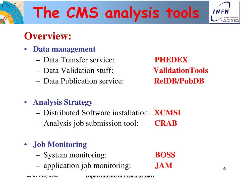 Analysis Strategy Distributed Software installation: XCMSI Analysis job
