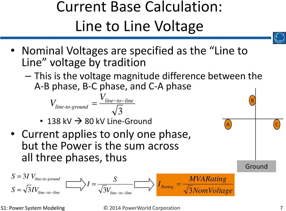 Line-Ground Current applies to only one phase, but the Power is the sum across all three phases, thus S 3I V S 3IV