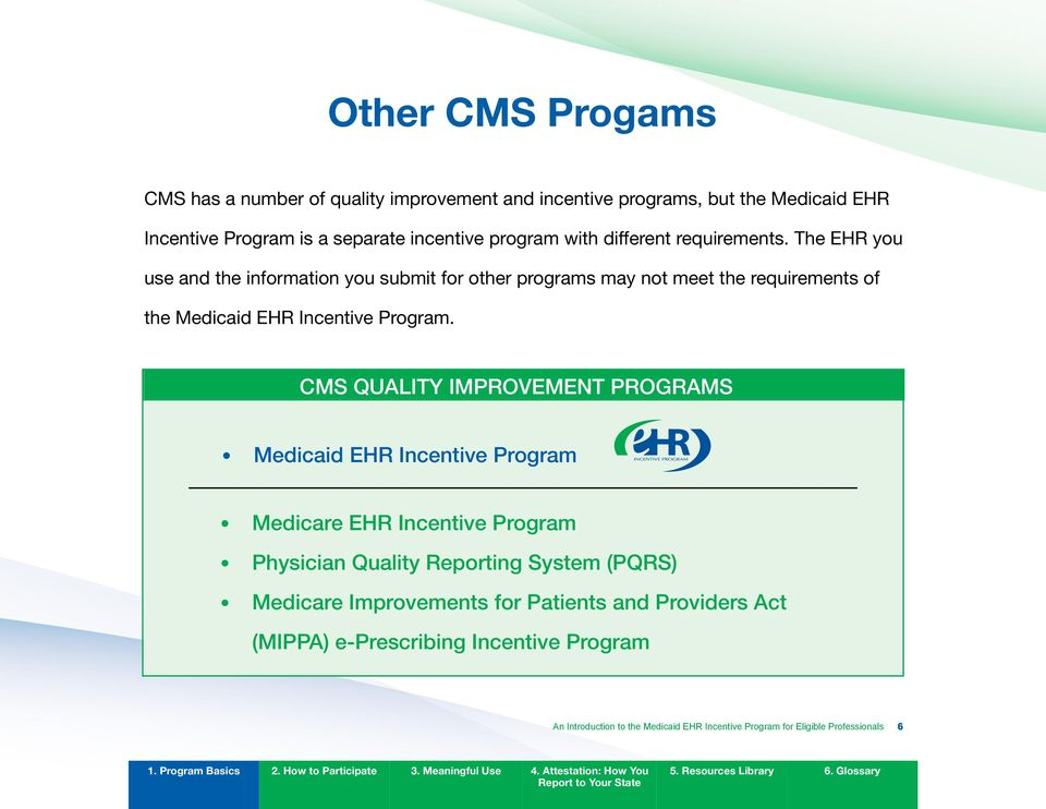 CMS quality IMPRovEMEnT PRogRAMS Medicaid EHR Incentive Program Medicare EHR Incentive Program Physician quality Reporting System (PqRS) Medicare
