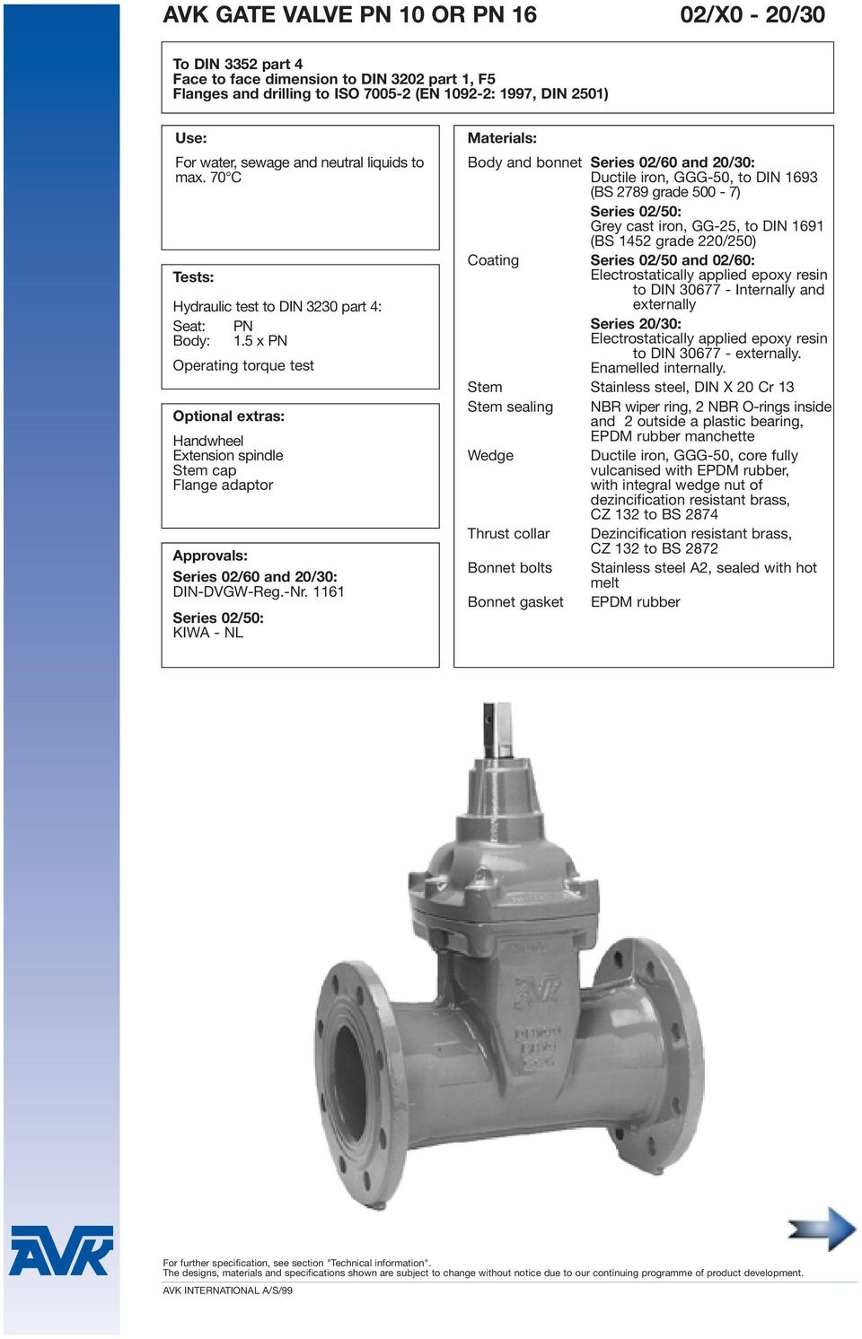5 x PN Operating torque test Optional extras: Handwheel Extension spindle Stem cap Flange adaptor Approvals: Series 02/60 and 20/30: DIN-DVGW-Reg.-Nr.