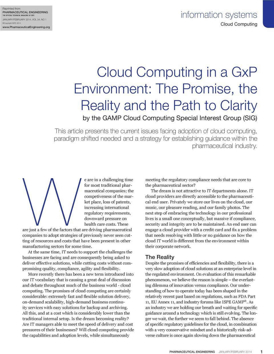 cloud computing, paradigm shifted needed and a strategy for establishing guidance within the pharmaceutical industry.