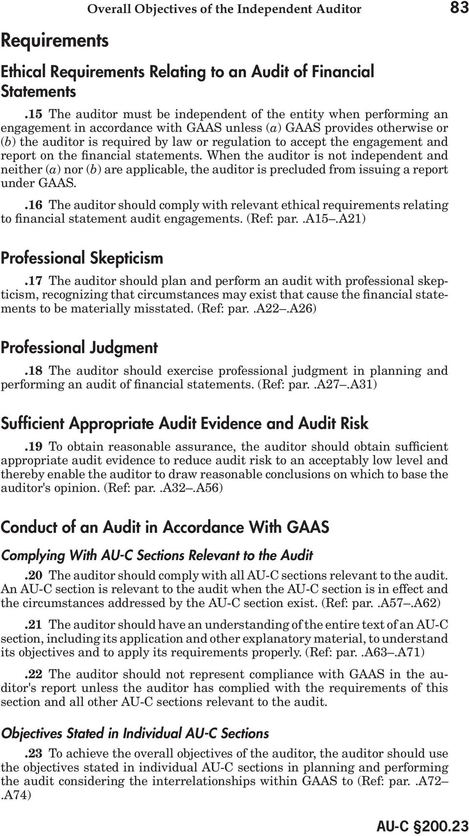 the engagement and report on the financial statements. When the auditor is not independent and neither (a) nor (b) are applicable, the auditor is precluded from issuing a report under GAAS.
