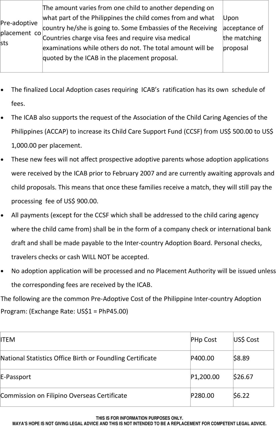 Upn acceptance f the matching prpsal The finalized Lcal Adptin cases requiring ICAB s ratificatin has its wn schedule f fees.