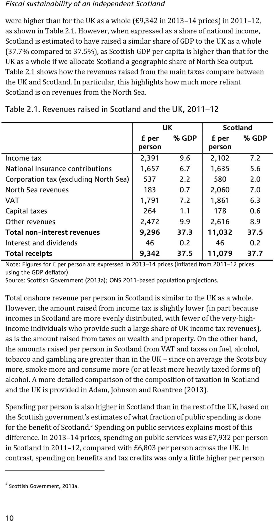 7% compared to 37.5%), as Scottish GDP per capita is higher than that for the UK as a whole if we allocate Scotland a geographic share of North Sea output. Table 2.