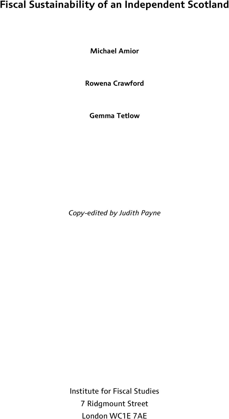 Tetlow Copy-edited by Judith Payne Institute