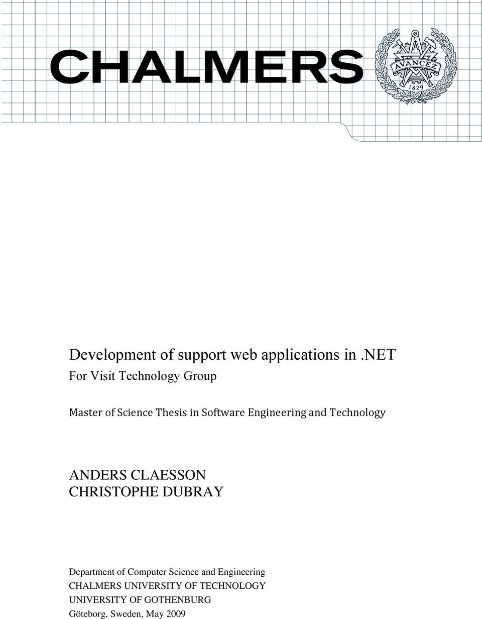 Engineering and Technology ANDERS CLAESSON CHRISTOPHE DUBRAY Department of
