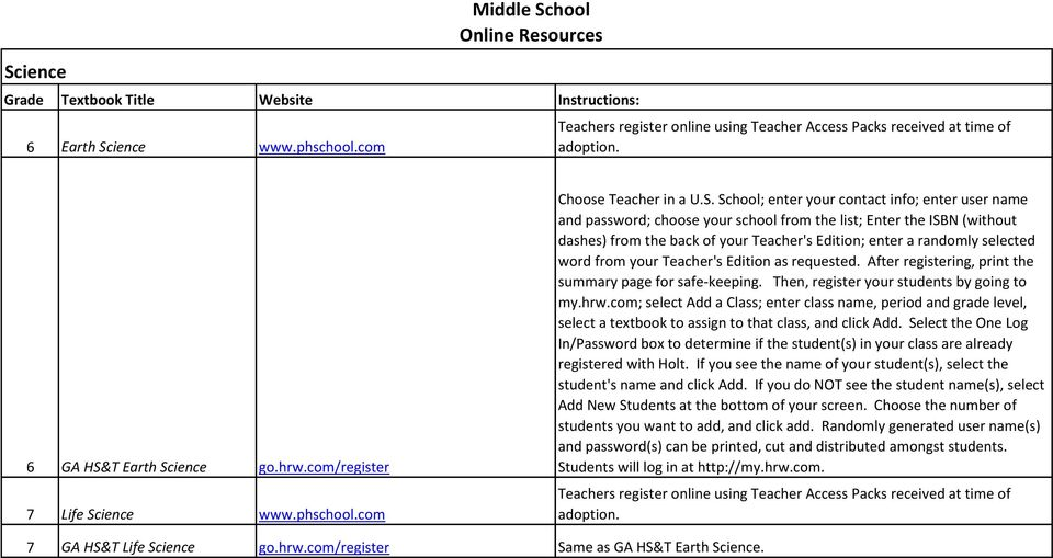 word from your Teacher's Edition as requested. After registering, print the summary page for safe-keeping. Then, register your students by going to my.hrw.