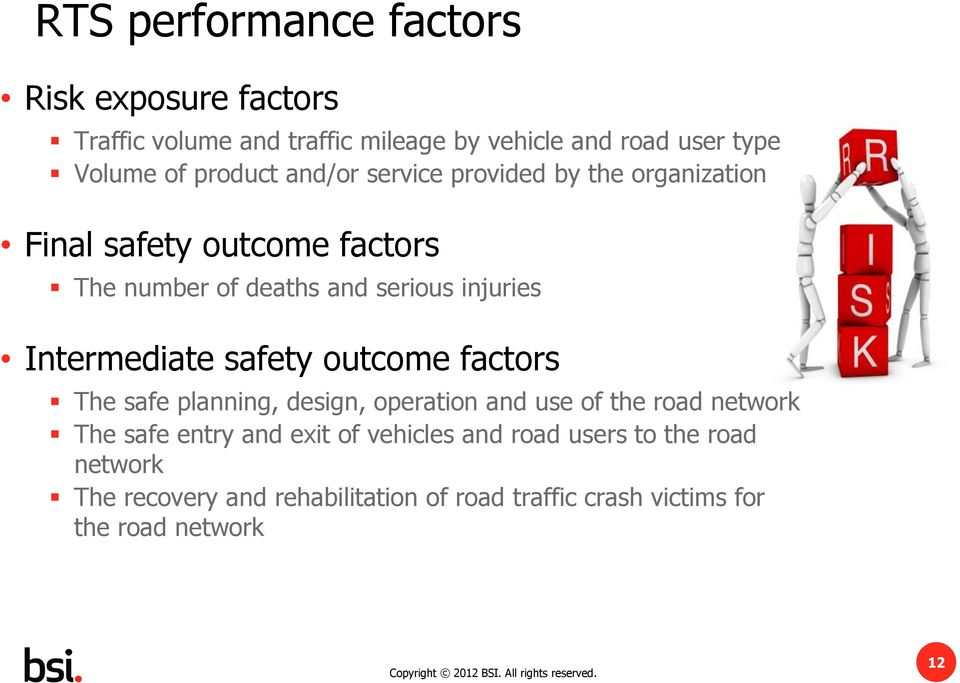 Intermediate safety outcome factors The safe planning, design, operation and use of the road network The safe entry and exit