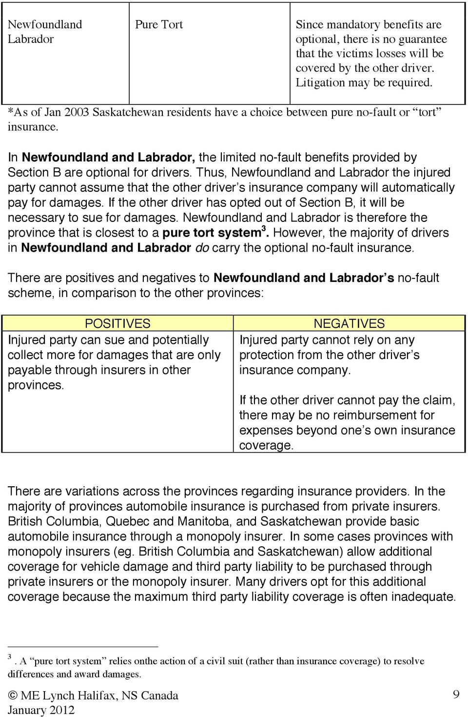 In Newfoundland and Labrador, the limited no-fault benefits provided by Section B are optional for drivers.
