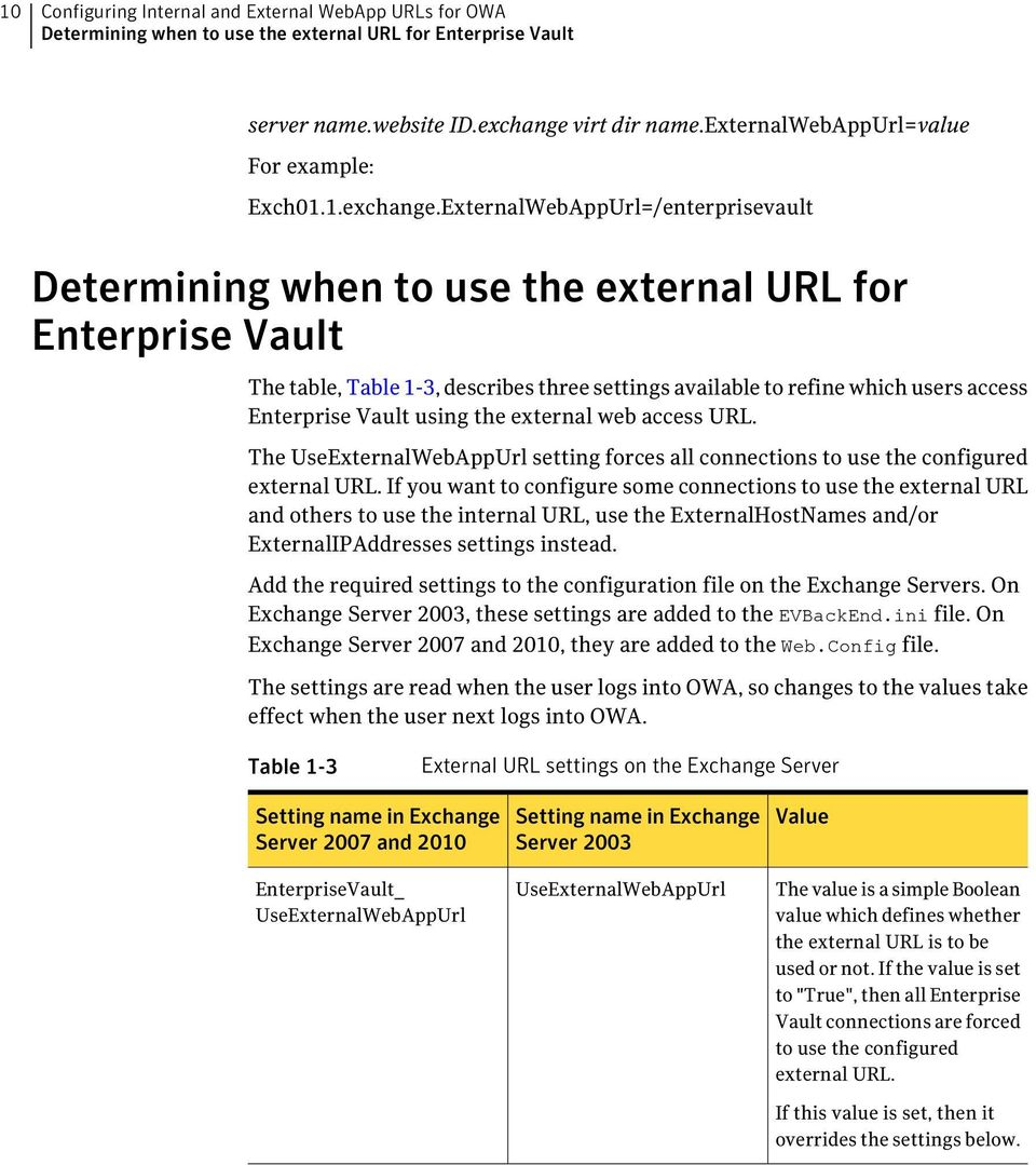 ExternalWebAppUrl=/enterprisevault Determining when to use the external URL for Enterprise Vault The table, Table 1-3, describes three settings available to refine which users access Enterprise Vault
