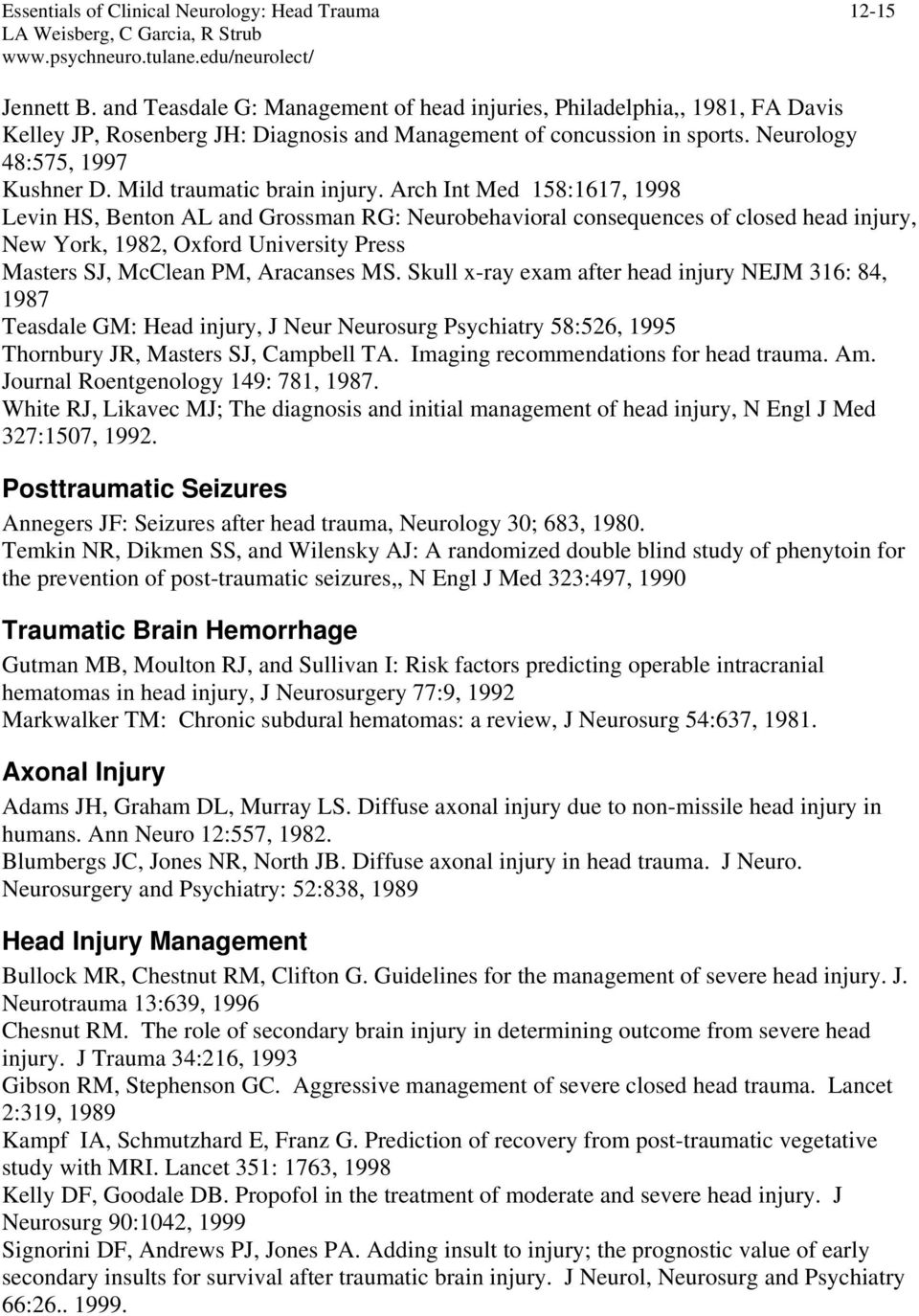 Mild traumatic brain injury.