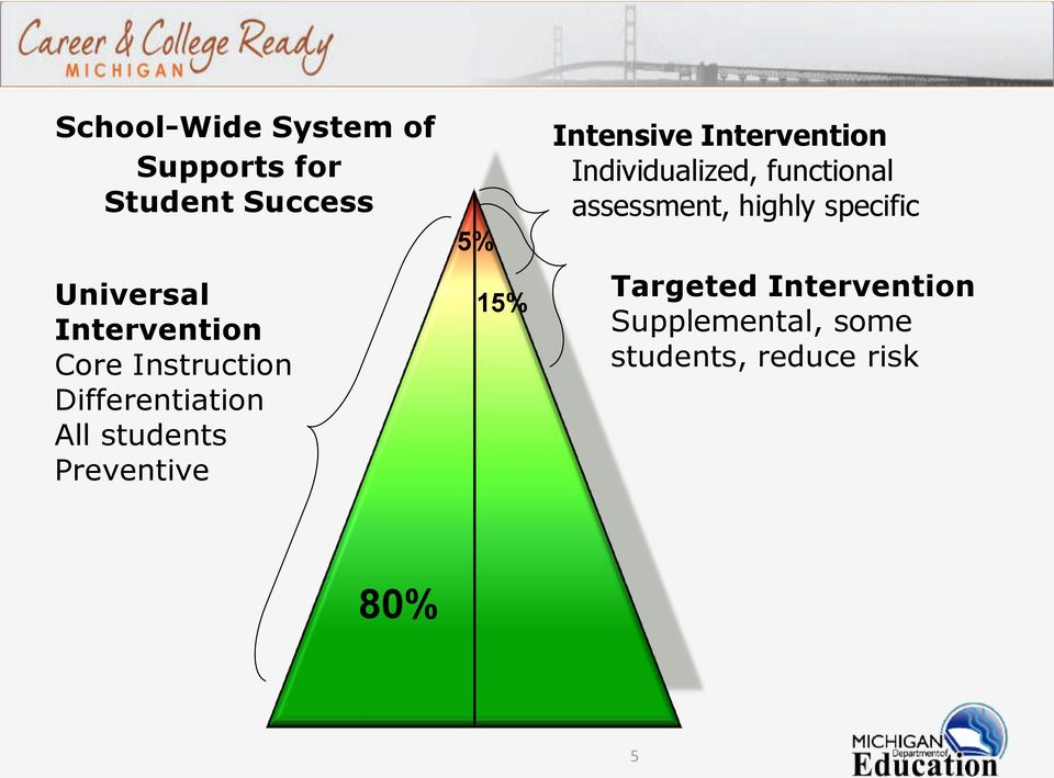 5% 15% Intensive Intervention Individualized, functional assessment,