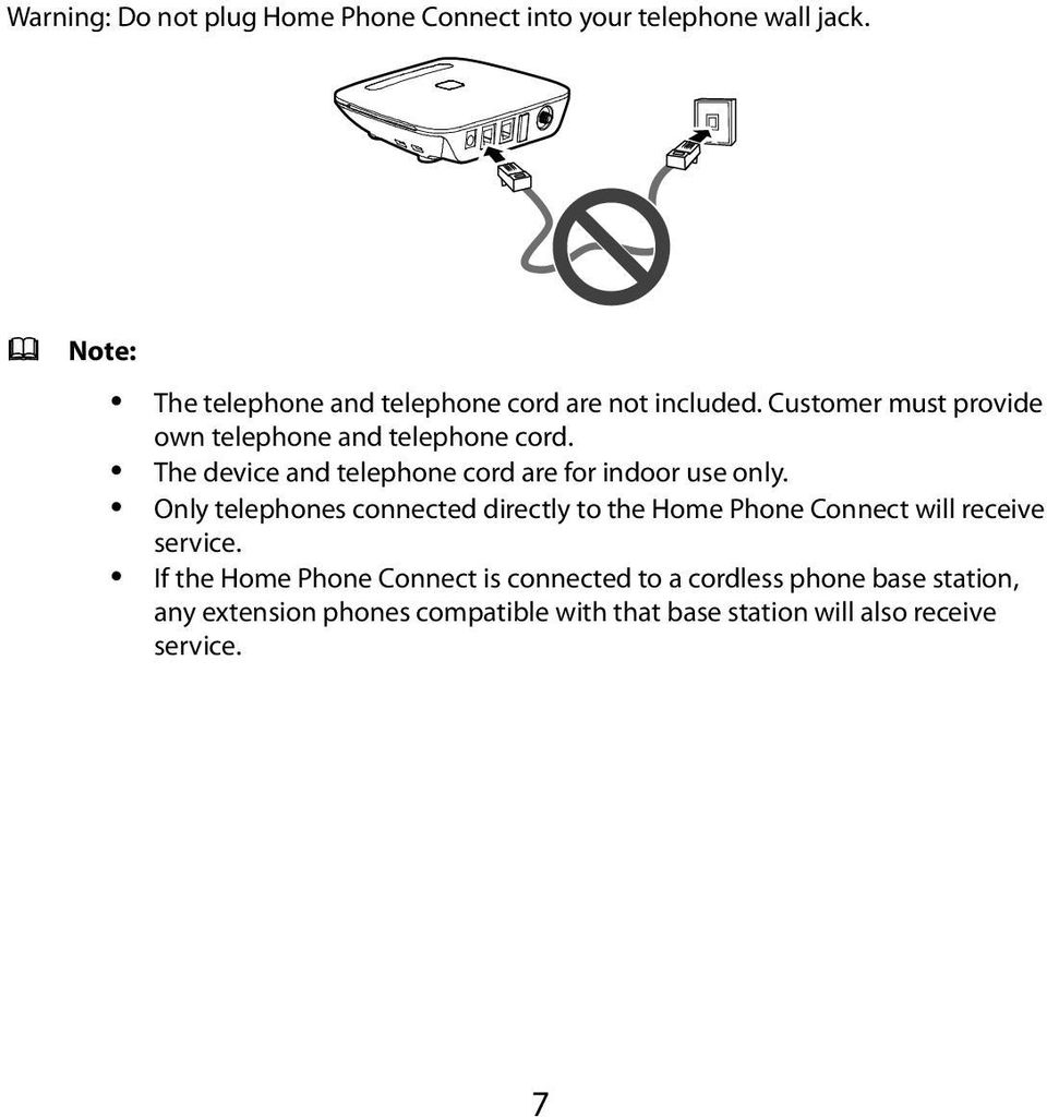 The device and telephone cord are for indoor use only.