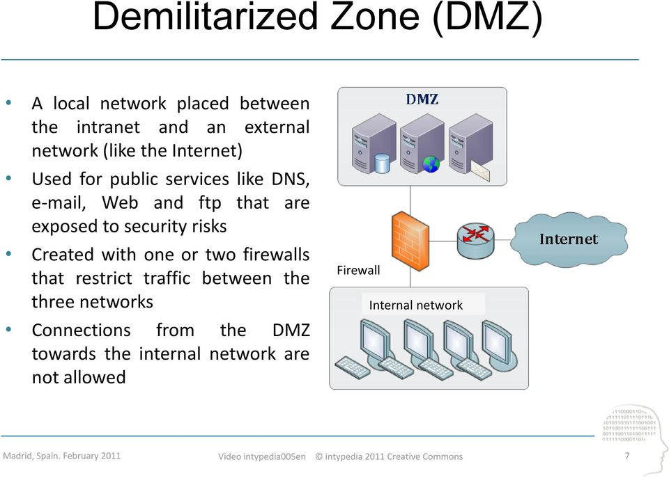 security risks Created with one or two firewalls that restrict traffic between the three