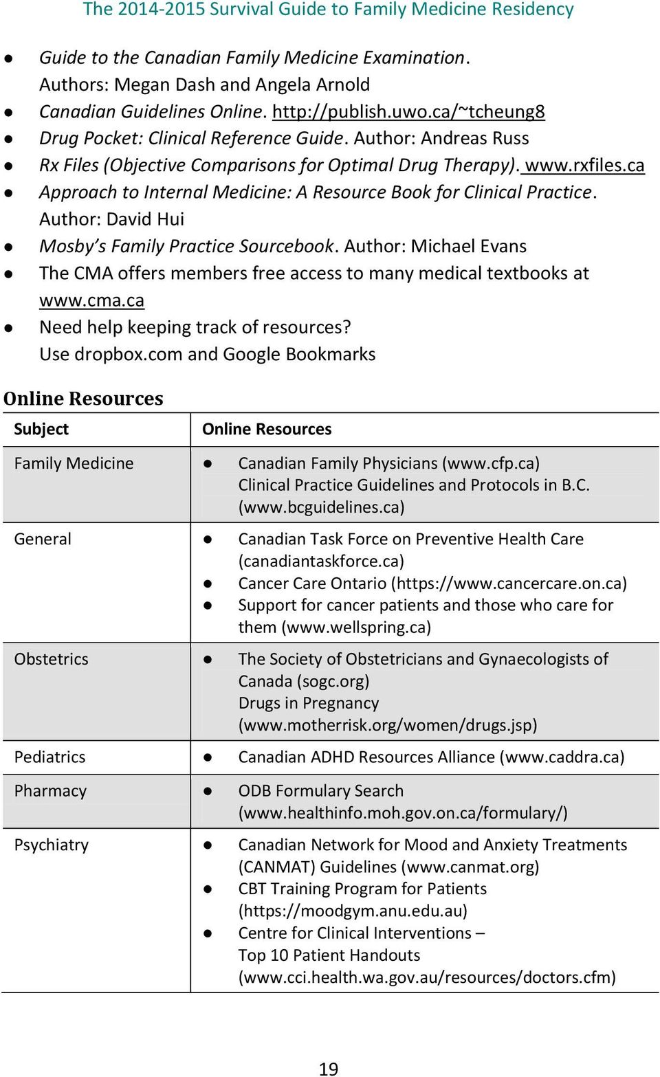 Author: David Hui Mosby s Family Practice Sourcebook. Author: Michael Evans The CMA offers members free access to many medical textbooks at www.cma.ca Need help keeping track of resources?