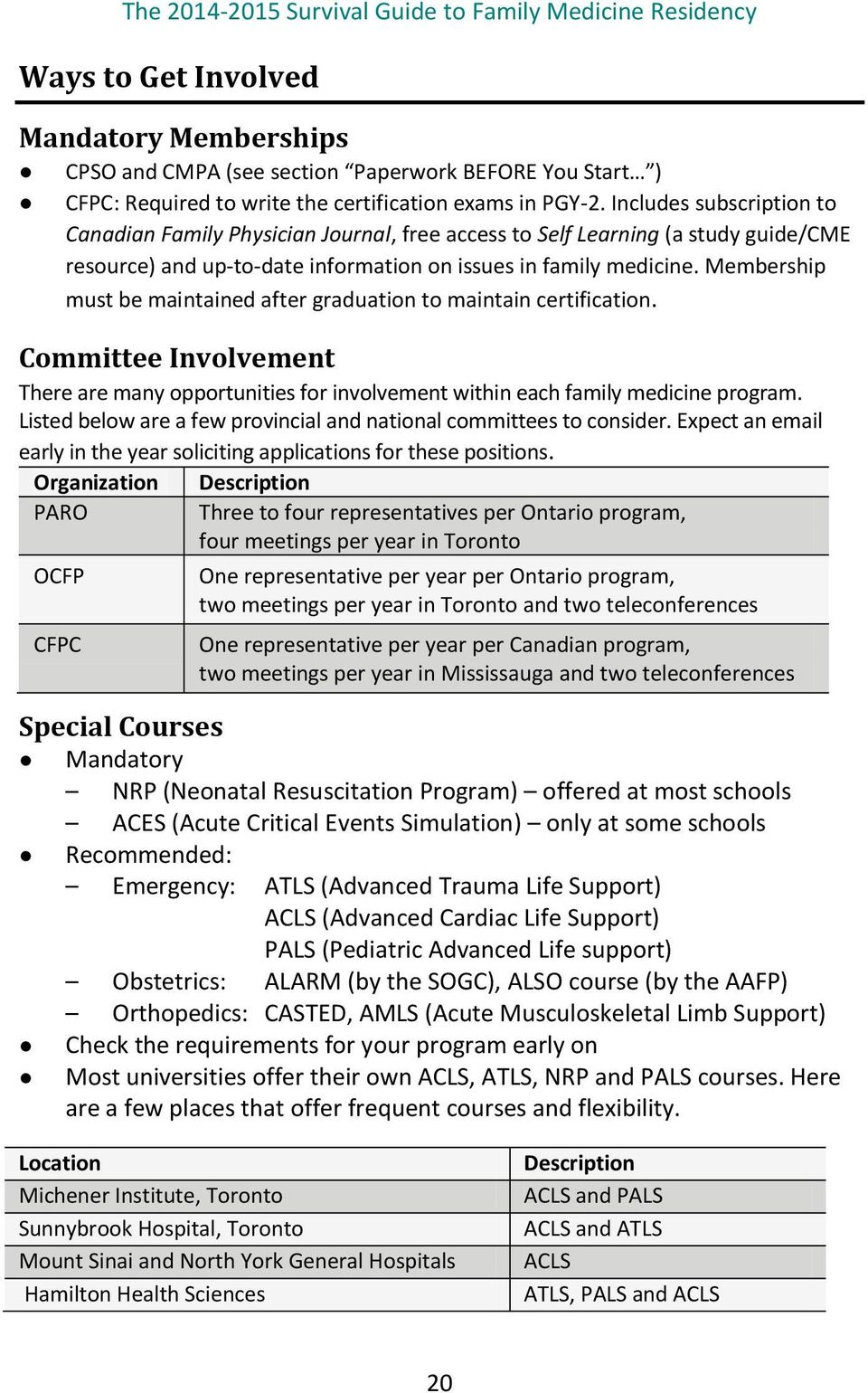 Membership must be maintained after graduation to maintain certification. Committee Involvement There are many opportunities for involvement within each family medicine program.