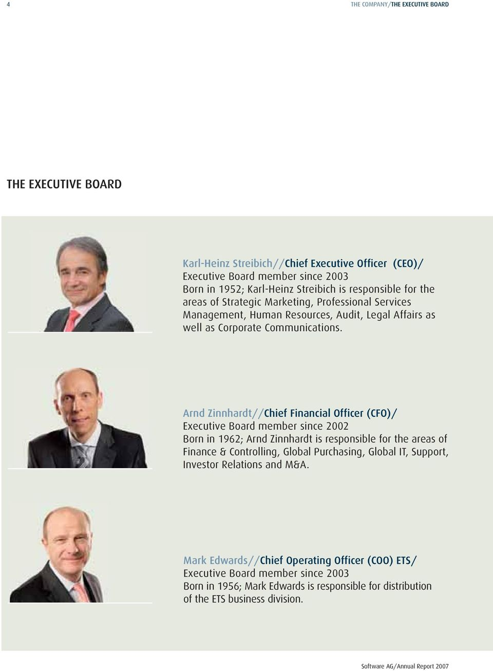 Arnd Zinnhardt//Chief Financial Officer (CFO)/ Executive Board member since 2002 Born in 1962; Arnd Zinnhardt is responsible for the areas of Finance & Controlling, Global Purchasing,