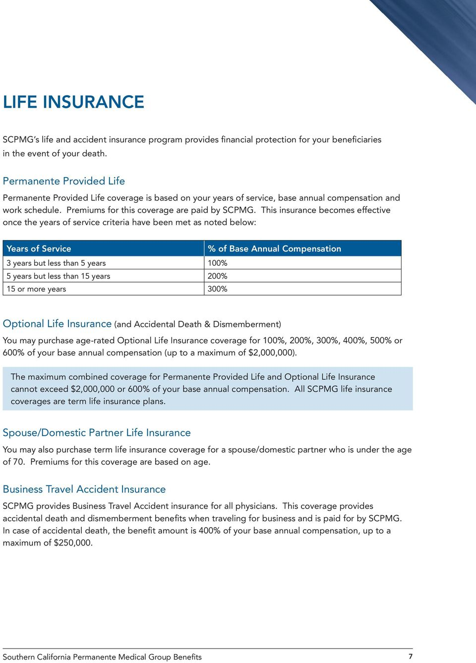 This insurance becomes effective once the years of service criteria have been met as noted below: Years of Service % of Base Annual Compensation 3 years but less than 5 years 100% 5 years but less