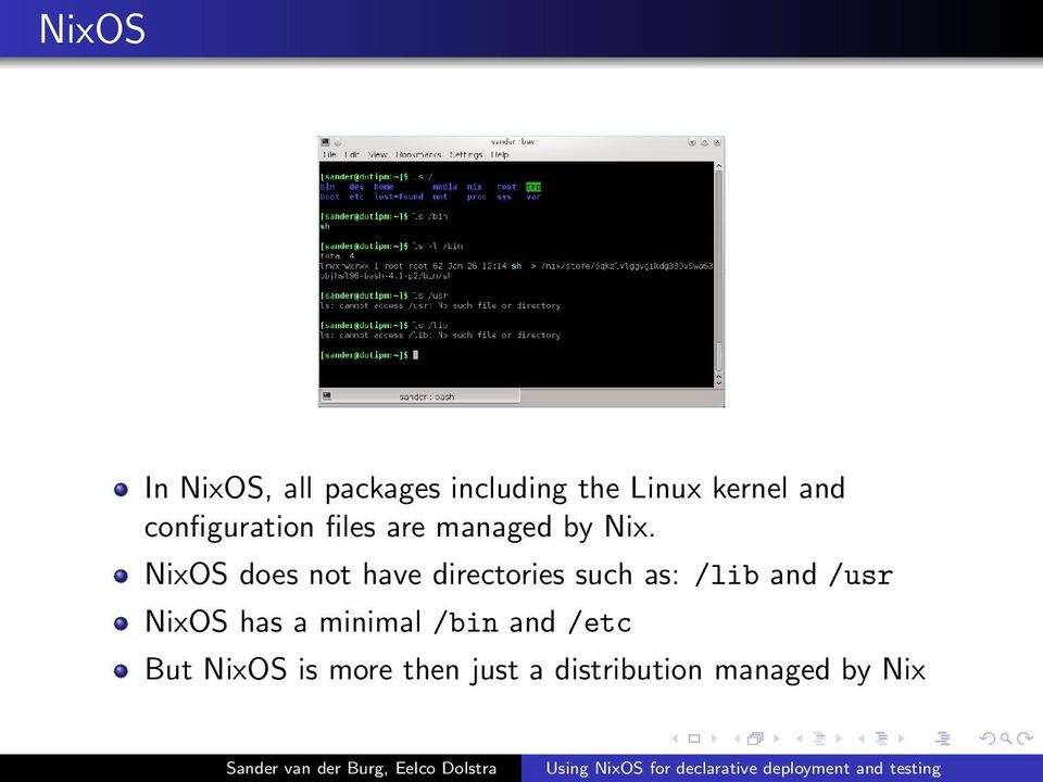 NixOS does not have directories such as: /lib and /usr NixOS