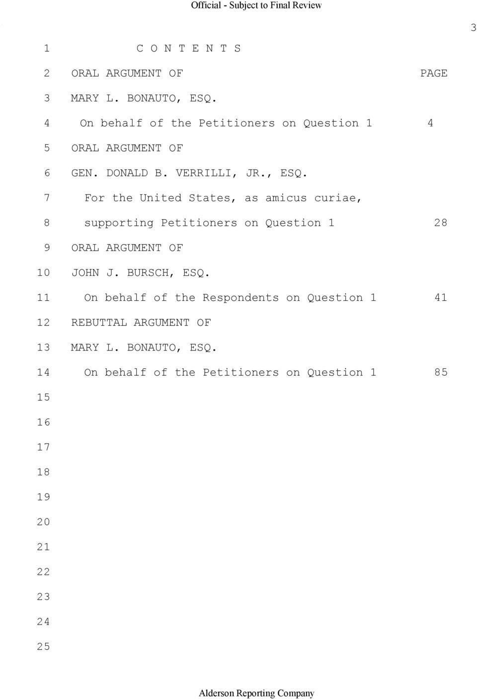 7 For the United States, as amicus curiae, 8 supporting Petitioners on Question 1 28 9 ORAL ARGUMENT OF 10 JOHN J.