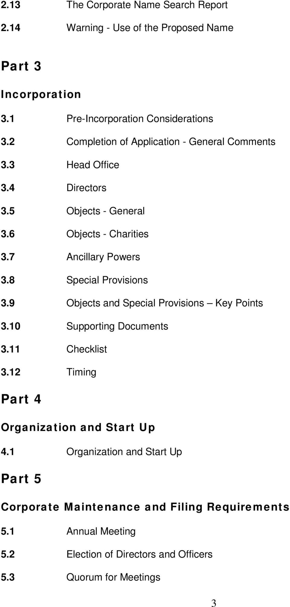 8 Special Provisions 3.9 Objects and Special Provisions Key Points 3.10 Supporting Documents 3.11 Checklist 3.