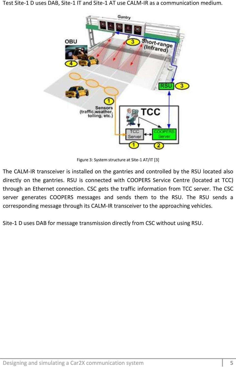RSU is connected with COOPERS Service Centre (located at TCC) through an Ethernet connection. CSC gets the traffic information from TCC server.