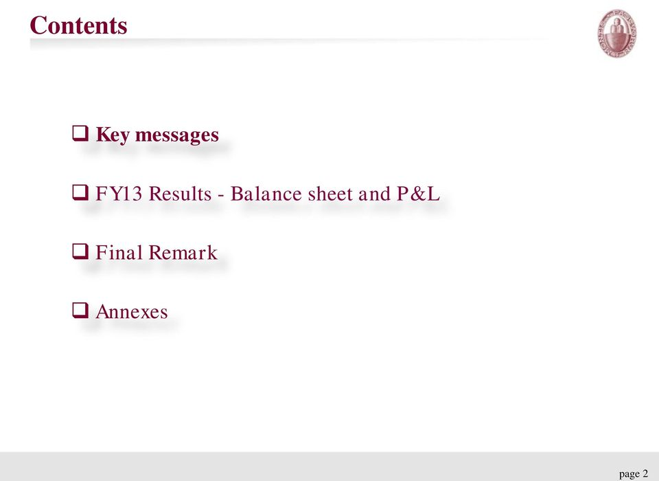 Balance sheet and P&L